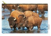 Bison Family In The Lamar River In Yellowstone National Park Carry-all Pouch