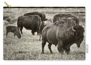 Bison Herd Bw Carry-all Pouch