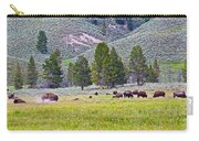 Bison Kicking Up Dust In The Meadow In Yellowstone National Park-wyoming  Carry-all Pouch
