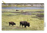 Bison Mother And Calf In Yellowstone National Park Carry-all Pouch