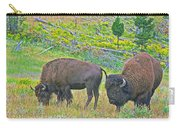 Bison Pair In Hayden Valley In Yellowstone National Park-wyoming  Carry-all Pouch