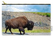 Bison Plodding Along On Alaska Highway-bc-canada Carry-all Pouch