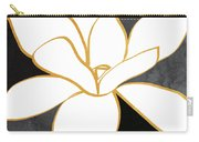 Black And Gold Magnolia- Floral Art Carry-all Pouch by Linda Woods