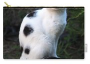 Black And White Cat On Tree Stump Carry-all Pouch