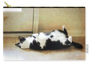 Black And White Cat Reclining Carry-all Pouch