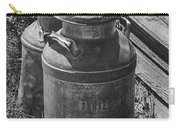 Black And White Old Prairie Homestead Vintage Creamery Cans Near The Badlands Carry-all Pouch