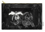 Black And White Orchid Flowers Growing Through Old Wooden Pictur Carry-all Pouch