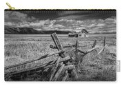 Black And White Photo Of A Wood Fence At The John Moulton Farm Carry-all Pouch