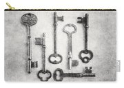 Black And White Photograph Of Vintage Skeleton Keys For Rustic Home Decor Carry-all Pouch