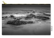 Black And White Photograph Of Waves Crashing On The Shore At Sand Beach Carry-all Pouch
