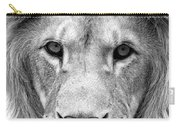 Black And White Portrait Of A Lion Carry-all Pouch