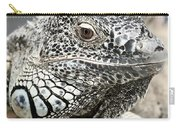 Black And White Saurian Animal Nature Iguana Carry-all Pouch