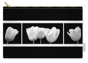 Black And White Tulip Triptych Carry-all Pouch