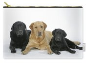 Black And Yellow Labradors With Puppy Carry-all Pouch