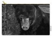 Black Bear - Scruffy - Black And White Cropped Portrait Carry-all Pouch
