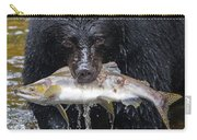 Black Bear With Salmon Carry-all Pouch