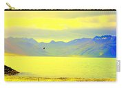 A Black Bird Is Crossing The Golden Landscape Carry-all Pouch