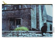 Black Cat On A Stone Wall By House Carry-all Pouch