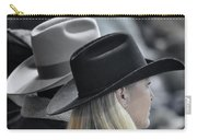 Black Hat Blond Hair Carry-all Pouch by Joan Carroll