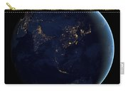 Black Marble - Asia And Australia City Lights Carry-all Pouch