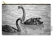 Black Swans - Black And White Textures Carry-all Pouch