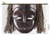 Black Tribal Face Mask On Isolated On White Carry-all Pouch
