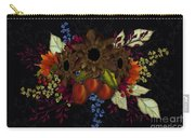 Black With Flowers And Fruit Carry-all Pouch