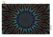Blue And Brown Floral Abstract Carry-all Pouch