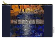 Blue And Gold Stained Abstract Carry-all Pouch