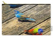 Blue And Indigo Buntings - Three Little Buntings Carry-all Pouch