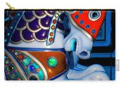 Blue And Red Carousel Horse Carry-all Pouch