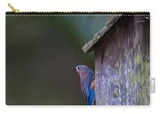Blue And Rose Beige Plumage Carry-all Pouch
