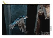 Blue And White Swallow Carry-all Pouch