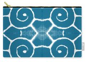 Blue And White Wave Tile- Abstract Art Carry-all Pouch
