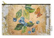 Blue Berries And Butterfly On Vintage Tin Carry-all Pouch