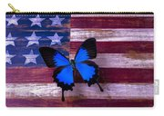 Blue Butterfly On American Flag Carry-all Pouch