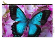 Blue Butterfly On Pink Hydrangea Carry-all Pouch