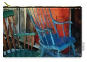 Blue Chair Against Red Door Carry-all Pouch