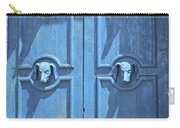 Blue Door Decorated With Wooden Animal Heads Carry-all Pouch