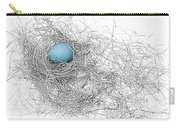 Blue Egg In Bird Nest Monochrome Carry-all Pouch