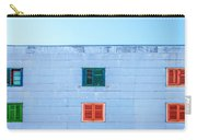 Blue Facade And Colorful Windows Carry-all Pouch