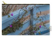 Blue Fence Purple Flowers Carry-all Pouch