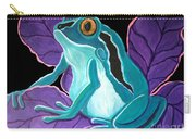 Blue Frog Purple Flower Carry-all Pouch