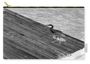 Blue Heron On Dock - Grayscale Carry-all Pouch