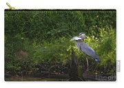 Blue Heron With A Fish-signed Carry-all Pouch