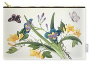 Blue Iris And Insects Carry-all Pouch