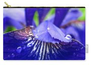 Blue Iris Rain Drops Carry-all Pouch