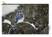 Blue Jay In Snow Storm Carry-all Pouch
