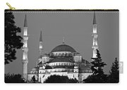 Blue Mosque In Black And White Carry-all Pouch
