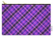 Blue Pink And Black Diagnal Plaid Cloth Background Carry-all Pouch